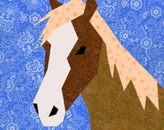 Horse quilt block, paper pieced quilt pattern, PDF pattern, instant download, horse pattern, horse block