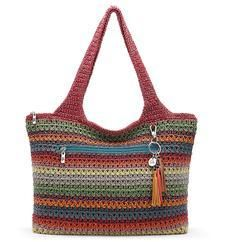 Jewel Toned Crocheted Large Tote - Gypsy Stripe