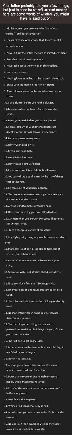 My Truth Serum-Just In Case Your Father Missed Out On A Few Life Lessons, Have A Read Of This List.