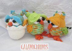 Amigurumi Búhos y Bebe Búho en su Cascarón - Patrón Gratis en Español a Crochet