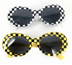 eca5f81b7f4 CHECKER Vintage Retro Oval Sunglasses Color  White Checker and Yellow  Checker Size  One Size