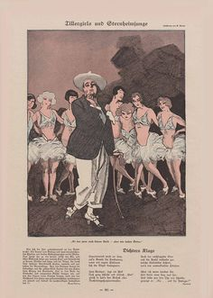 """Simplicissimus. Satirical magazine. Dancing girls and stage director: """"He has no brain, but we have legs."""""""