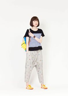 i love the polka-dotted pants look, though i couldn't pull off the hammer-pant silhouette