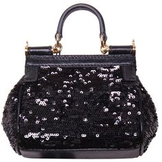 Dolce & Gabbana Black Sequin Tote Bag ❤ liked on Polyvore
