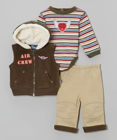Look at this #zulilyfind! Olive Zip-Up Vest Set - Infant & Toddler #zulilyfinds