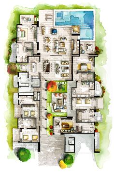 Real Estate Watercolor 2D Floor Plan Part IV on Behance