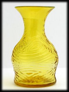 Blenko 6945 Jonquil Yellow Vase Textured Art Glass Hand Blown Vintage from Catisfaction on Ruby Lane