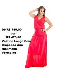 b0c3773a8 Vestido Longo Com Drapeado Ana Hickmann - Vermelho Sofisticado. Vestido  confeccionado em tecido leve,