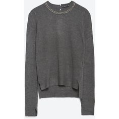 Zara Sweater With Embellished Neckline ($46) ❤ liked on Polyvore featuring tops, sweaters, anthracite grey, grey top, gray top, zara sweaters, gray sweater and zara top