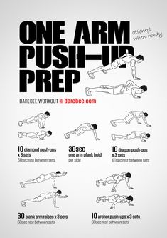 Build up some serious strength and punching power by perfecting the one arm push up. Start today by adding in this one arm push-up prep workout! Boxer Workout, Push Workout, Gymnastics Workout, Gym Workout Tips, Weight Training Workouts, Street Workout, Workout Schedule, Workout Challenge, Workout Fitness