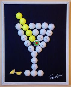 "Perfect for a man cave or golf bar! ""The Hole"" My painting today is a 16 x 20 canvas painted dark blue with a Martini glass designed completed with golf balls. even the Olive and lemon slices! I might be ahead of my time! Golf Club Crafts, Golf Ball Crafts, Golf Club Art, Cheap Golf Clubs, Golf Apps, Golf Pride Grips, Golf Outing, Golf Theme, Perfect Golf"