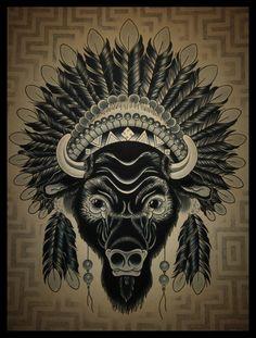 Buffalo headdress tattoo. Perfect. But I want more color