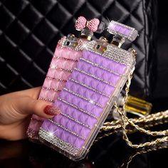 Capa, diamante de luxo caso Perfume bolsa Bow Bowknot cadeia frasco de Perfume caixa para o iPhone 6 6 plus 4 4S 5 5S capa para P563