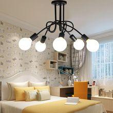 Лучшая цена дизайнер черный цвет белый цвет простой современные лампы гостиная столовая спальня лампа E27 с LED лампы
