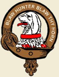 Forrester Clan Crest Member Badge - Crest: A hound's head erased Proper collared Gules MottoBlaw, Hunter, Blaw Thy Horn