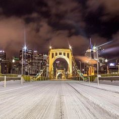 A snow covered Roberto Clemente Bridge shot at night. Thanks to @themralex for this great shot. #Pittsburgh #PGH #bridge #snow. Follow @WPXI and tag #WPXI for a chance to be featured. Pittsburgh Bridges, Pittsburgh Skyline, Pittsburgh Pirates, Roberto Clemente Bridge, Pnc Park, Road Trippin, Great Shots, East Coast, Painting Inspiration