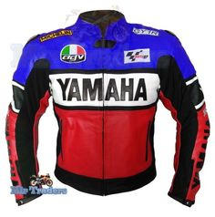 Yamaha 46 Red Blue Scooter Biker Leather Jacket Men