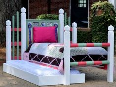 Pony Beds ~ Built to resemble show jumps, with space for ribbons and photos on the headboards.