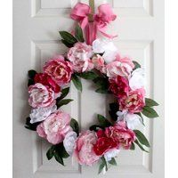 Spring wreath Summer wreath Peony Wreath Mother's Day by Leopard Buy Peonies, White Peonies, Spring Front Door Wreaths, Mesh Wreaths, Wedding Wreaths, Wreath Crafts, Summer Wreath, Grapevine Wreath, Gifts For Her
