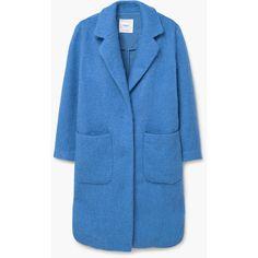 MANGO Cotton Wool-Blend Coat ($130) ❤ liked on Polyvore featuring outerwear, coats, long sleeve coat, blue coat and mango coat