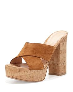 Crisscross+Suede+Mule+Sandal,+Luggage+by+Gianvito+Rossi+at+Bergdorf+Goodman.