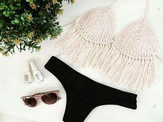 Traje de baño al crochet #tejido #hilo #flecos #bikini #malla #verano #playa