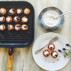 """#regram via @madeby_danica """"My holiday in France is over. Despite this I'm getting excited by the culture and its flavours. So here is a really simple dessert of grilled apricots with coconut whipped cream and lavender. Full recipe is on my blog. Grilling the apricots gives them a unique caramel flavour really worth it! madebydanica.co.uk"""""""