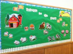farm bulletin board ideas for preschoolers Farm Bulletin Board, Farm Animals, Animals And Pets, Animal Crafts For Kids, Craft Kids, Farm Theme, Classroom Themes, School Projects, Toy Chest