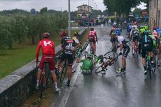 2016 Giro d'Italia Stage 8:  A crash at the rear of the peloton during the wetter early stages