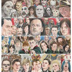 Funny Horror, Horror Art, American Horror Story Art, Amc Walking Dead, Nerd Art, Ahs, Mount Rushmore, Scary, Collage