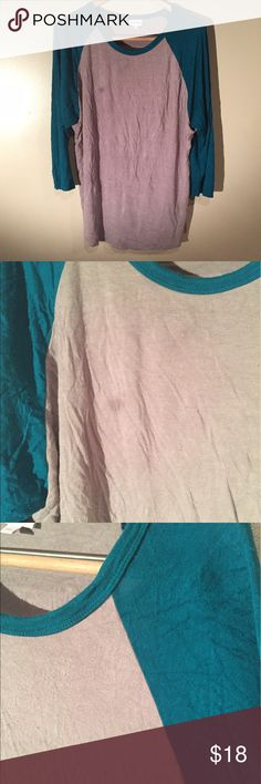 Grey and teal lularoe Randy Super soft Lularoe Randy baseball tee. Besides the small stain on the front (pics1/2) it is in nice condition LuLaRoe Tops Tees - Long Sleeve
