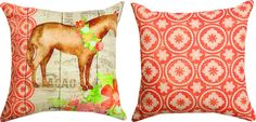 "Horse Floral Farm Indoor/Outdoor Reversible Throw Pillows (set of 2, 18"")"