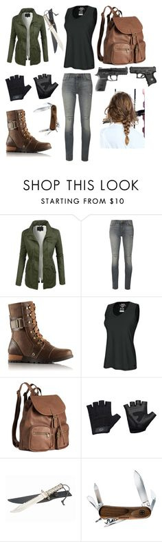 """Surviving the zombie apocalypse"" by jinx-the-nerd ❤ liked on Polyvore featuring LE3NO, J Brand, SOREL, Champion, H&M, Casall, Wenger, women's clothing, women and female"