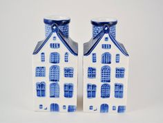2 Vintage Delft Blue House Ceramic Candle Holders by FairyLynne, $20.00