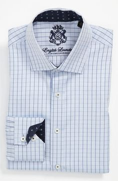 English Laundry trim fit dress shirt.  Refined paisley jacquard lines the spread collar and mitered, two-button cuffs of a hand-sewn dress shirt cast in finely checked, textured cotton inspired by vintage British fabrics from the '60s and '70s.