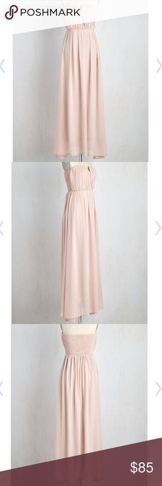 """Under Luxe and Key Dress Absolutely gorgeous blush pink strapless gown with a pleated bodice and notched neckline. Fully lined. Side zipper with hook and eye closure. Padded bust cups. Boning at the neckline. Fabric is 100% polyester. This dress is perfect for bridesmaids, prom, weddings, holiday parties, and just dancing the night away! Length is 50.5"""". Brand new. Tag says UK 10, which is a US 6. ModCloth Dresses Prom"""