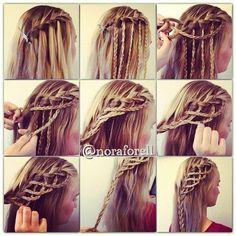Waterfall Braid!! <3!! #hair #waterfallbraid #braidedhair #hairstyle #howto #tutorial - bellashoot.com