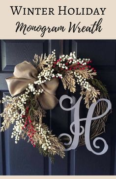 Elegant monogrammed winter wreath.  Christmas Decorations | Winter Decor | Wreaths | Winter Wreaths | Christmas Wreaths | Winter Holiday Decor #ad