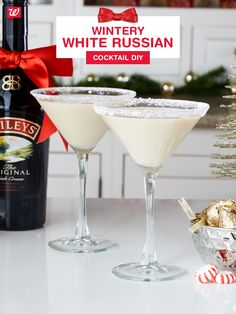 Add a little zing to a basic White Russian with premium spirits and a peppermint rim. Shake up in a martini shaker sold at Walgreens, pour in frosty glasses and serve with Hershey's Hazelnut Kisses for a festive holiday treat.