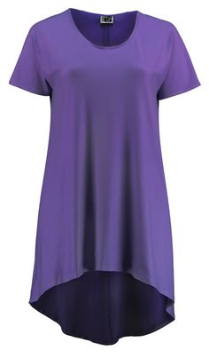 Sixteen47: Wisteria Capped Sleeved Graduated Hem Tunic     Here is another one of our favourite tunics - graduated hem with long capped sleeves (virtually to the elbow) for the easiest summer tunic ever.     Here it is in a lovely  purple Wisteria colour.    Wear with or without trousers - or a skirt! Great with shorts.