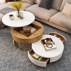 Modern Round Coffee Table with Storage Lift-Top Wood Coffee Table with Rotatable Drawers in White & Natural