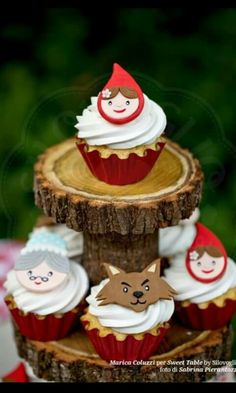 Ideas cupcakes topper caperucita roja
