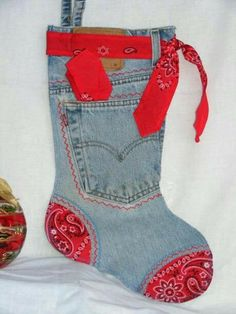 Red Bandana Denim Christmas Stocking by tuck a surprise in the pocket ❤️ Christmas Sewing, Christmas Items, Christmas Projects, Holiday Crafts, Christmas Crafts, Christmas Ornaments, Christmas Snowman, Christmas Christmas, Jean Crafts