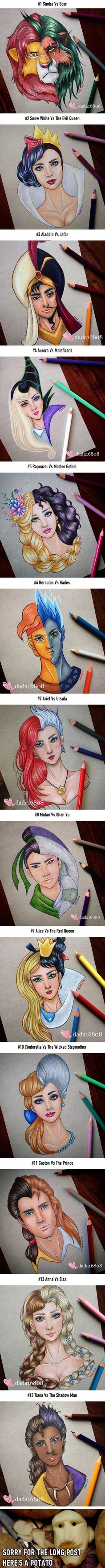 Pixar Drawing This Artist Merges Disney Heroes With Villains - - More memes, funny videos and pics on Art Disney, Disney Kunst, Disney Love, Disney Magic, Disney Stuff, Disney Ideas, Disney Drawings, Cool Drawings, Drawing Disney