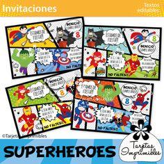 invitaciones-superhéroes – Tarjetas Imprimibles Comic Books, Comics, Cover, About Me, Printable Cards, Card Designs, Decorations, Drawing Cartoons, Comic Book