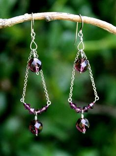 #E0018    One of my most popular designs!    Such a simple design, yet so beautiful and wearable! Made with sterling silver components with deep purple Swarovski crystals.    **CUSTOMIZABLE  **Matching necklace and bracelet available