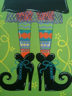 Items similar to Witch Feet Holiday Canvas on Etsy Halloween Canvas, Halloween Rocks, Halloween Painting, Halloween Images, Holidays Halloween, Vintage Halloween, Halloween Crafts, Halloween Decorations, Autumn Painting