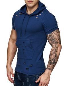 F&S Men Ripped Holes Hoodie T-Shirt - Navy Blue