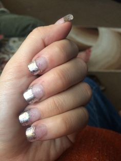 Foil wrapped glitzy acrylic nails
