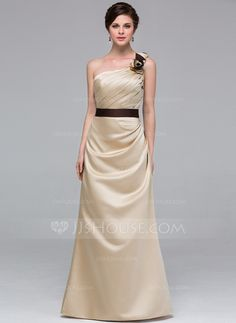 Bridesmaid Dresses - $109.99 - Sheath One-Shoulder Floor-Length Satin Bridesmaid Dress With Sash Flower(s) (007037241) http://jjshouse.com/Sheath-One-Shoulder-Floor-Length-Satin-Bridesmaid-Dress-With-Sash-Flower-S-007037241-g37241